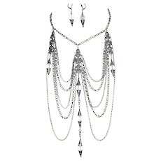 ETRUSCAN Statement Necklace Earrings Set Drippy Festoon Swags with Rock Crystal Quartz Designer Signed