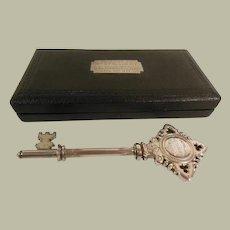 Vintage Cased Sterling Silver Presentation Key C. 1924