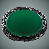 Sterling Silver & Chrysophase Brooch Circa 1940's