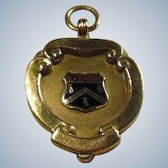 English 9 Carat Gold and Enamel Crested, Watch Fob/Trophy/ Pendant