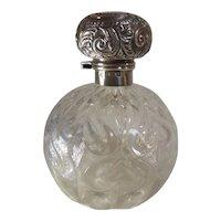 Sterling Silver & Heart Pressed Glass Perfume Bottle, Hallmarked 1905