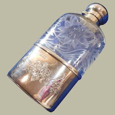 English Crystal Glass & Sterling Silver Cup, Spirit/Personal/Hip Flask, Hallmarked 1905
