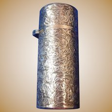 English Sterling Silver Cased Perfume/Vanity/Pill Container, Hallmarked 1900