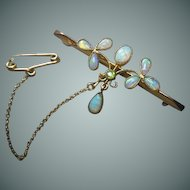 Edwardian Opal & 15 Carat Gold Bar Brooch