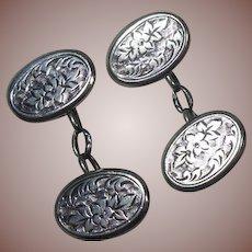 Victorian English Sterling Silver Cufflinks, Hallmarked 1896