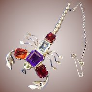 Sterling Silver Gem Set Scorpion Brooch