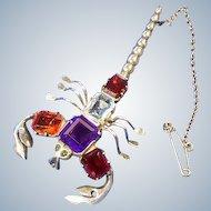Sterling Silver Gem Set Scorpion Brooch
