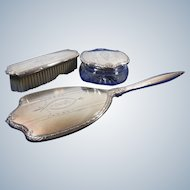 Sterling Silver Vanity Hand Mirror Lidded Container & Clothes Brush