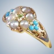 Georgian English 9 carat Gold Split Seed Pearl & Antique Turquoise Dress Ring