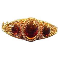 Vintage 14 Karat Gold & Garnet Cabochon Bangle Bracelet