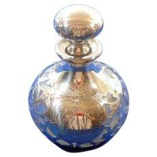 Vintage Sterling Silver Overlay & Crystal Glass Perfume Bottle Ca. 1910-1945