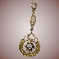 Vintage 14 Karat Gold & Diamond Pendant