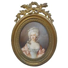 Framed Miniature Portrait Painting of Lady, Signed