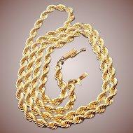 "14 Carat/Karat Gold (.585/1000) Rope Neck Chain 20.5"" Circa 1970-80- 30.2 Grams Solid"