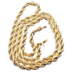 """14 Carat Gold Rope Neck Chain 20.5"""" Circa 1970-80- 30.2 Grams Solid"""