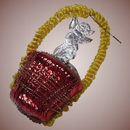 Shiny Red Basket Glass and Angel Christmas Ornament with Wire Overlay and Chenille Handle