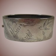 Aesthetic Movement (1870-1900) Wide Bangle Bracelet- Bird/Ship/Palm Landscape/Sun/Cloud