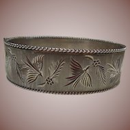 English Sterling Silver Bangle Bracelet 3/4 Inch Wide Bird & Berry Leaf Engraved, HM Circa 1979
