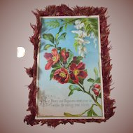 Large Silk Fringed Christmas Greeting Card/Keepsake Doublesided by Raphael Tuck & Sons (copyright)Victorian Era (1837-1901) Flowers