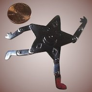 Sterling Silver Articulated Smiling Star Figural Brooch by Woods