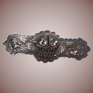 English Sterling Silver Basket of Flowers Sweetheart Brooch