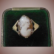 9 Karat Gold and Carved Shell Cameo Dress Ring