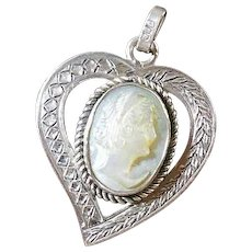 Vintage Silver(800/1000) Heart- Framed Carved Mother -of-Pearl Pendant Circa 1920-40