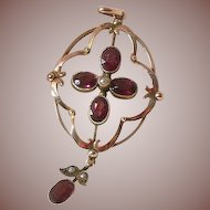 English Edwardian 9 Carat Rose Gold and Garnet Lavalier Pendant, Circa 1910