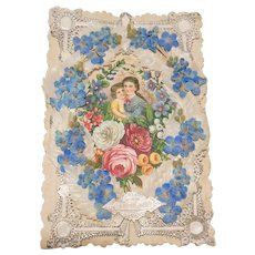 Large Lacey Victorian Valentine circa 1837-1901- Forget-me-nots- Faithful
