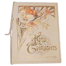 Embossed, Gilt and Die Cut Valentine Greeting Card, Kind Thoughts- Pansy circa 1900-20