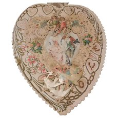 Large Victorian(1837-1901) Lacy Die Cut Heart Valentine Greeting Card