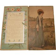 """Large Silk Fringed Victorian (1837-1901) Valentine Greeting/Poem -Fold-out-Card""""To My Valentine"""""""
