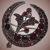 Bohemian Garnet Brooch Cresent Shaped with Flower
