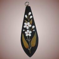 Antique Pietra Dura Pendant-Delicate Flowers