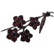 Vintage Bohemian Garnet Flat Cut Flower Brooch