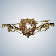 English 9 Carat .375 Gold Sweetheart Brooch Circa 1900-20