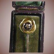 9 Carat Gold(375/1000) Amethyst and Green Diamond Stick Pin Circa 1880-1915
