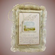 """Victorian Greeting Card """" I Love Thee Truly """" Circa 1837-1901-Silk Fringed"""