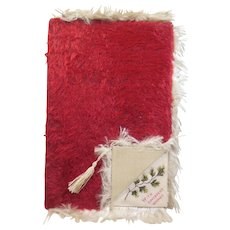 Victorian 1837-1901 Fold Over- Chenille Silk Fringed Forget Me Not/To My Love Greeting/Poem Card