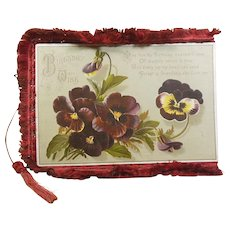 Victorian 1837-1901 Silk Fringed Fold Open Birthday Greeting Card/Poem Pansies