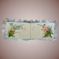 """Victorian Silk Fringed Greeting Card  """"To My Love"""" 1837-1901"""