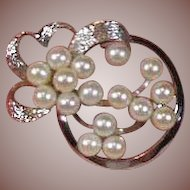 Sterling Silver 925/1000 and Cultured Pearl Brooch Circa 1950-70
