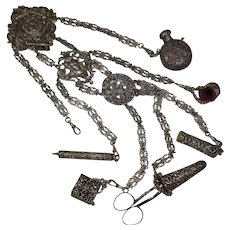 Large Victorian 1837-1901 Silver Colored Metal Chatelaine (6 Items)