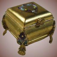 Gilt Gold Metal and Cloisonne Ring/Trinket/Keepsake Box
