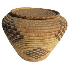 Large Lidded Southwestern Papago American Indian Basket-1920