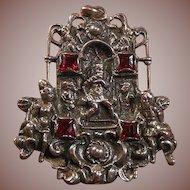 Vintage Silver(800) and Gem Cut Red Paste Stones Pendant- Italian Renaissance Designed