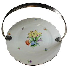 Herend Hungary Hand Painted and Handled Cake Plate-Florals and Parrot Tulip/Easter