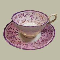 English Pink Luster Cup and Saucer- Circa 1840-1880