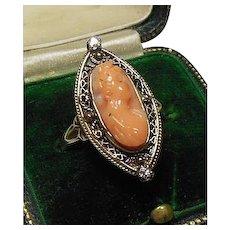 10 Karat Gold Filigree Coral Cameo and Diamond Dress Ring, Circa 1880-1920