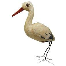 Vintage Easter Cotton Spun Stork Model